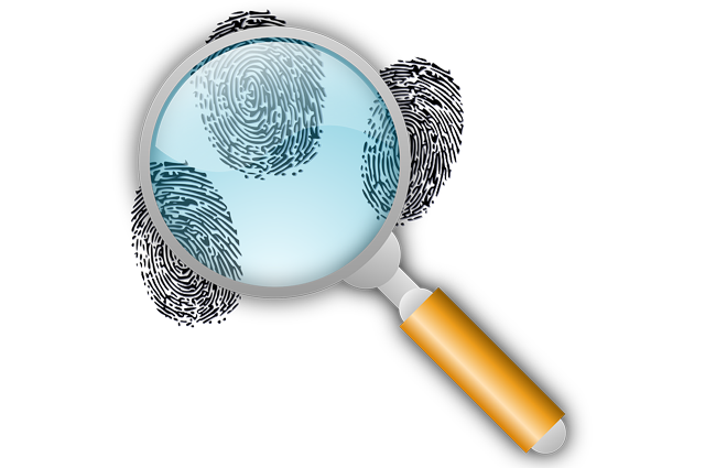 Finger Prints and magnifying glass